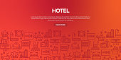 Vector set of design templates and elements for Hotel in trendy linear style - Seamless patterns with linear icons related to Hotel - Vector