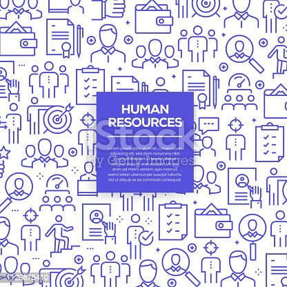 Vector set of design templates and elements for Human Resources in trendy linear style - Seamless patterns with linear icons related to Human Resources - Vector