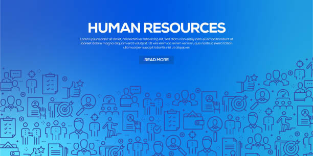 Vector set of design templates and elements for Human Resources in trendy linear style - Seamless patterns with linear icons related to Human Resources - Vector Vector set of design templates and elements for Human Resources in trendy linear style - Seamless patterns with linear icons related to Human Resources - Vector recruiter stock illustrations