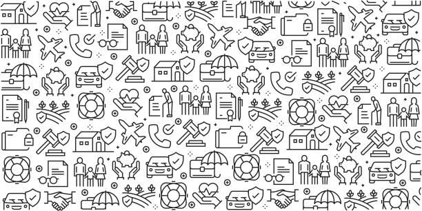 ilustraciones, imágenes clip art, dibujos animados e iconos de stock de conjunto de vector de plantillas de diseño y elementos para el seguro de estilo moderno - en patrones sin fisuras con iconos lineales relacionados con seguros - vector - viajes familiares