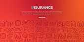 Vector set of design templates and elements for Insurance in trendy linear style - Seamless patterns with linear icons related to Insurance - Vector