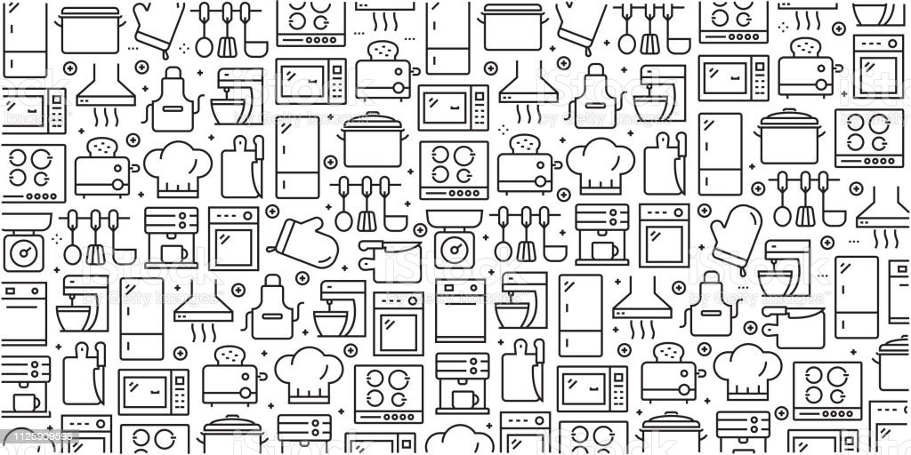 Vector set of design templates and elements for Kitchen Utensil in trendy linear style - Seamless patterns with linear icons related to Kitchen Utensil - Vector Vector set of design templates and elements for Kitchen Utensil in trendy linear style - Seamless patterns with linear icons related to Kitchen Utensil - Vector Backgrounds stock vector