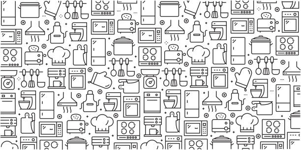 Vector set of design templates and elements for Kitchen Utensil in trendy linear style - Seamless patterns with linear icons related to Kitchen Utensil - Vector Vector set of design templates and elements for Kitchen Utensil in trendy linear style - Seamless patterns with linear icons related to Kitchen Utensil - Vector cooking icons stock illustrations