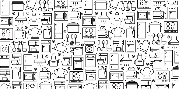 Vector Set Of Design Templates And Elements For Kitchen Utensil In Trendy Linear Style Seamless Patterns With Linear Icons Related To Kitchen Utensil Vector Stock Illustration - Download Image Now