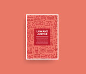 Vector set of design templates and elements for Law and Justice in trendy linear style - Seamless patterns with linear icons related to Law and Justice - Vector