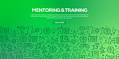 Vector set of design templates and elements for Mentoring and Training in trendy linear style - Seamless patterns with linear icons related to Mentoring and Training - Vector