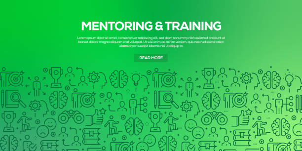 ilustrações de stock, clip art, desenhos animados e ícones de vector set of design templates and elements for mentoring and training in trendy linear style - seamless patterns with linear icons related to mentoring and training - vector - fundo oficina