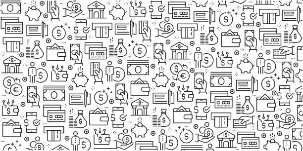 Vector set of design templates and elements for Money in trendy linear style - Seamless patterns with linear icons related to Money - Vector Vector set of design templates and elements for Money in trendy linear style - Seamless patterns with linear icons related to Money - Vector banking patterns stock illustrations