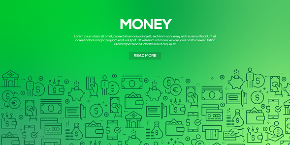 Vector set of design templates and elements for Money in trendy linear style - Seamless patterns with linear icons related to Money - Vector