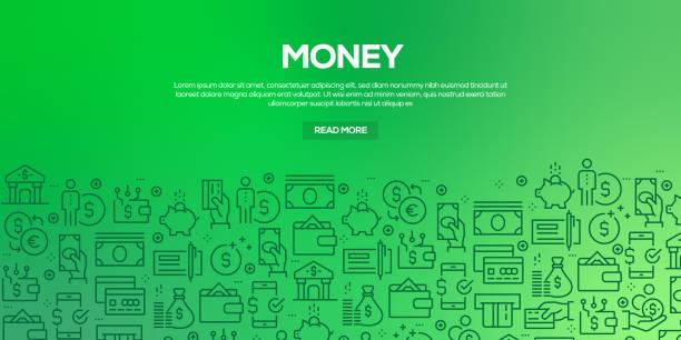 設計範本和元素的向量集合為金錢在時尚線性樣式-無縫的樣式與線性圖示相關的金錢-向量向量 - money 幅插畫檔、美工圖案、卡通及圖標