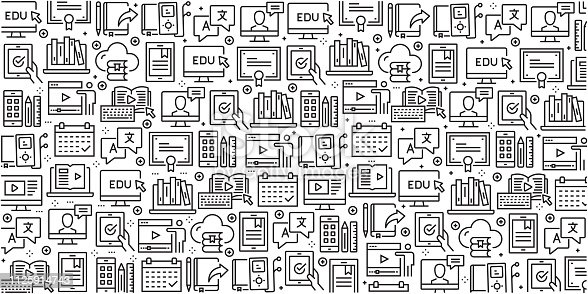 Vector set of design templates and elements for Online Education in trendy linear style - Seamless patterns with linear icons related to Online Education - Vector