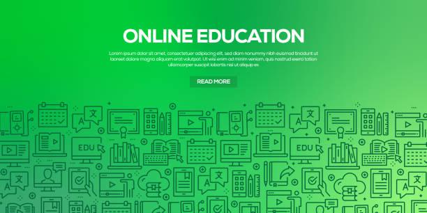 ilustrações, clipart, desenhos animados e ícones de vector o jogo de moldes e de elementos do projeto para a instrução em linha no estilo linear na moda-testes padrões sem emenda com os ícones lineares relativos à instrução em linha-vetor - college people laptop