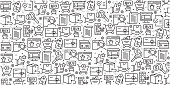 Vector set of design templates and elements for Online Shopping in trendy linear style - Seamless patterns with linear icons related to Online Shopping - Vector