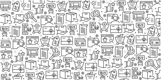 bildbanksillustrationer, clip art samt tecknat material och ikoner med vektor uppsättning mallar och element för online shopping i trendiga linjär stil - sömlösa mönster med linjär ikoner relaterade till online shopping - vektor - on demand