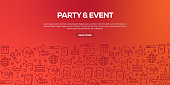 Vector set of design templates and elements for Party and Event Related in trendy linear style - Seamless patterns with linear icons related to Party and Event Related - Vector