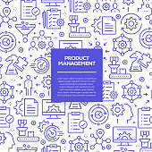 Vector set of design templates and elements for Product Management in trendy linear style - Seamless patterns with linear icons related to Product Management - Vector