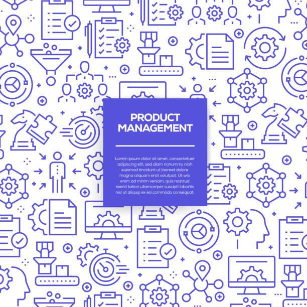 vektor-reihe von design-vorlagen und elemente für das produktmanagement in trendigen linearen stil - musterdesigns mit linearen symbole im zusammenhang mit produktmanagement - vektor - büro zukunft und niemand stock-grafiken, -clipart, -cartoons und -symbole