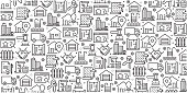 Vector set of design templates and elements for Real Estate in trendy linear style - Seamless patterns with linear icons related to Real Estate - Vector