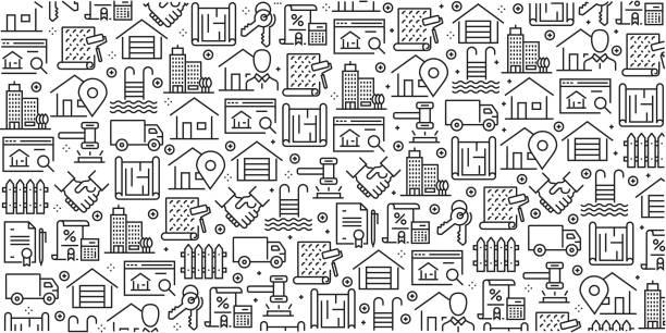 ilustraciones, imágenes clip art, dibujos animados e iconos de stock de conjunto de vector de plantillas de diseño y elementos de bienes raíces en estilo moderno - patrones sin fisuras con iconos lineales relacionados con real estate - vector - hipotecas y préstamos