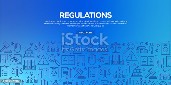 Vector set of design templates and elements for Regulations in trendy linear style - Seamless patterns with linear icons related to Regulations - Vector
