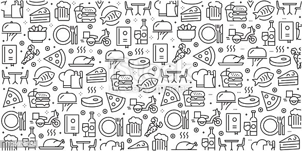 Vector set of design templates and elements for Restaurant and Food in trendy linear style - Seamless patterns with linear icons related to Restaurant and Food - Vector