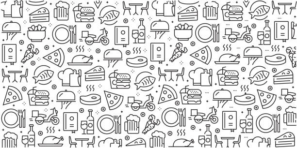 illustrazioni stock, clip art, cartoni animati e icone di tendenza di vector set of design templates and elements for restaurant and food in trendy linear style - seamless patterns with linear icons related to restaurant and food - vector - pranzare