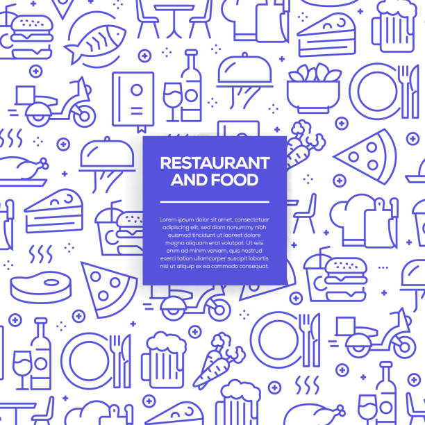 Vector set of design templates and elements for Restaurant and Food in trendy linear style - Seamless patterns with linear icons related to Restaurant and Food - Vector Vector set of design templates and elements for Restaurant and Food in trendy linear style - Seamless patterns with linear icons related to Restaurant and Food - Vector cooking patterns stock illustrations