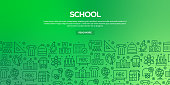 Vector set of design templates and elements for School in trendy linear style - Seamless patterns with linear icons related to School - Vector