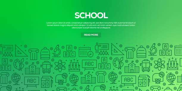 Vector set of design templates and elements for School in trendy linear style - Seamless patterns with linear icons related to School - Vector Vector set of design templates and elements for School in trendy linear style - Seamless patterns with linear icons related to School - Vector elementary age stock illustrations