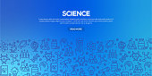 Vector set of design templates and elements for Science in trendy linear style - Seamless patterns with linear icons related to Science - Vector