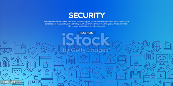 Vector set of design templates and elements for Security in trendy linear style - Seamless patterns with linear icons related to Security - Vector
