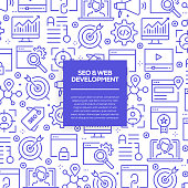 Vector set of design templates and elements for SEO and Web Optimization in trendy linear style - Seamless patterns with linear icons related to SEO and Web Optimization - Vector