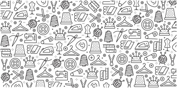 illustrazioni stock, clip art, cartoni animati e icone di tendenza di vector set of design templates and elements for sewing in trendy linear style - seamless patterns with linear icons related to sewing - vector - tailor working