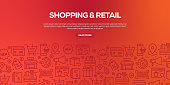 Vector set of design templates and elements for Shopping and Retail in trendy linear style - Seamless patterns with linear icons related to Shopping and Retail - Vector