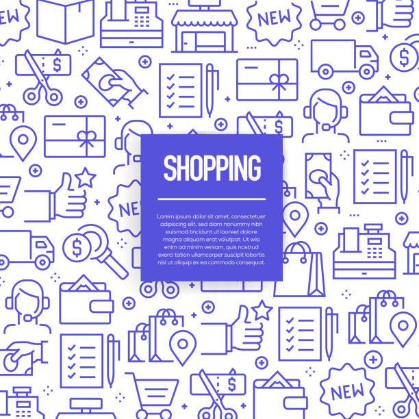 vector set of design templates and elements for shopping in trendy linear style - seamless patterns with linear icons related to shopping - vector - shopping stock illustrations, clip art, cartoons, & icons