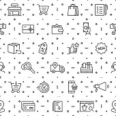 Vector set of design templates and elements for Shopping in trendy linear style - Seamless patterns with linear icons related to Shopping - Vector