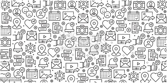 Vector set of design templates and elements for Social Media in trendy linear style - Seamless patterns with linear icons related to Social Media - Vector