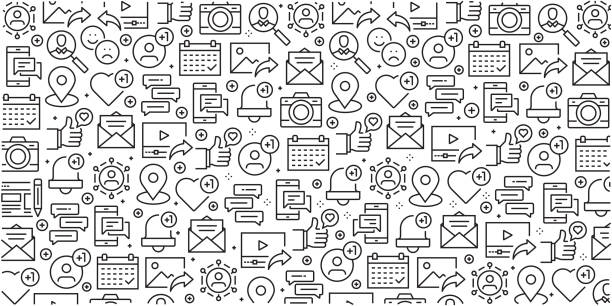 illustrazioni stock, clip art, cartoni animati e icone di tendenza di vector set of design templates and elements for social media in trendy linear style - seamless patterns with linear icons related to social media - vector - social media