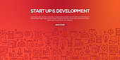 Vector set of design templates and elements for Start Up and Development in trendy linear style - Seamless patterns with linear icons related to Start Up and Development - Vector