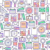 Vector set of design templates and elements for Stationery in trendy linear style - Seamless patterns with linear icons related to Stationery - Vector