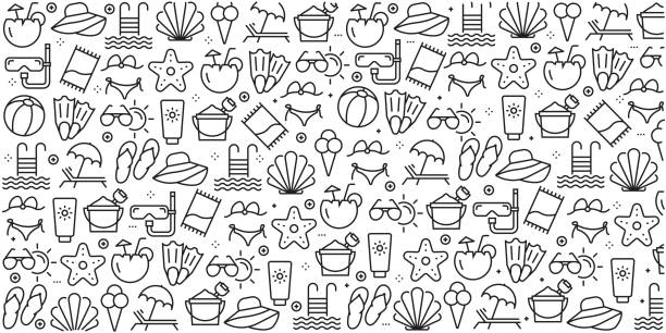 Vector set of design templates and elements for Summer and Beach in trendy linear style - Seamless patterns with linear icons related to Summer and Beach - Vector Vector set of design templates and elements for Summer and Beach in trendy linear style - Seamless patterns with linear icons related to Summer and Beach - Vector summer stock illustrations