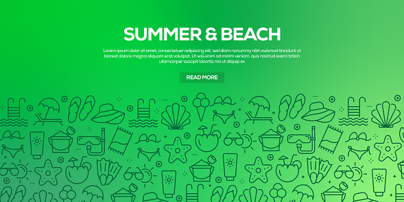 Vector set of design templates and elements for Summer and Beach in trendy linear style - Seamless patterns with linear icons related to Summer and Beach - Vector