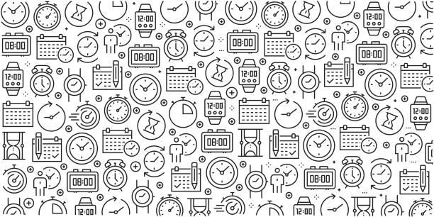 ilustraciones, imágenes clip art, dibujos animados e iconos de stock de vector conjunto de plantillas de diseño y elementos de tiempo relacionados con estilo de moda - en patrones sin fisuras con iconos lineales relacionados con relacionados de tiempo - vector - calendario abstracto