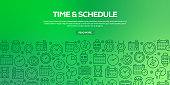 Vector set of design templates and elements for Time Related in trendy linear style - Seamless patterns with linear icons related to Time Related - Vector