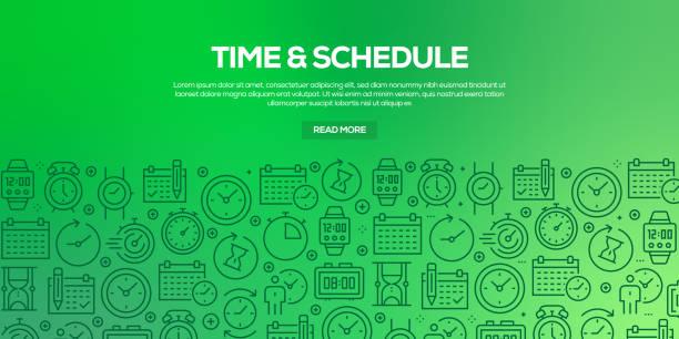 ilustraciones, imágenes clip art, dibujos animados e iconos de stock de conjunto vectorial de plantillas de diseño y elementos para el tiempo relacionado con el estilo lineal de moda-patrones sin fisuras con iconos lineales relacionados con el tiempo relacionado-vector - calendario abstracto