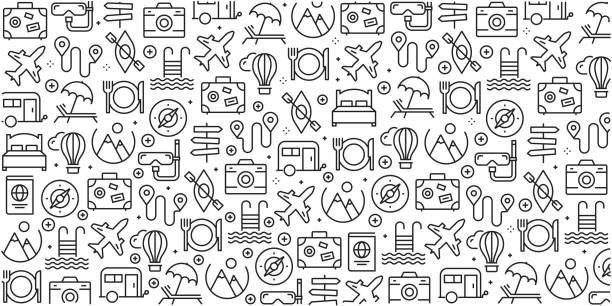 Vector set of design templates and elements for Travel and Holiday in trendy linear style - Seamless patterns with linear icons related to Travel and Holiday - Vector Vector set of design templates and elements for Travel and Holiday in trendy linear style - Seamless patterns with linear icons related to Travel and Holiday - Vector airport backgrounds stock illustrations