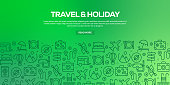 Vector set of design templates and elements for Travel and Holiday in trendy linear style - Seamless patterns with linear icons related to Travel and Holiday - Vector
