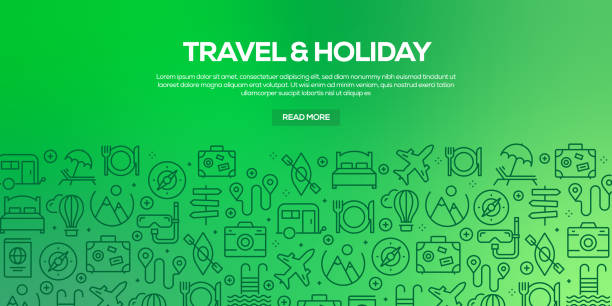 Vector set of design templates and elements for Travel and Holiday in trendy linear style - Seamless patterns with linear icons related to Travel and Holiday - Vector Vector set of design templates and elements for Travel and Holiday in trendy linear style - Seamless patterns with linear icons related to Travel and Holiday - Vector airport patterns stock illustrations