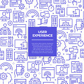 Vector set of design templates and elements for User Experience in trendy linear style - Seamless patterns with linear icons related to User Experience - Vector