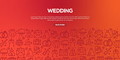 Vector set of design templates and elements for Wedding in trendy linear style - Seamless patterns with linear icons related to Wedding - Vector